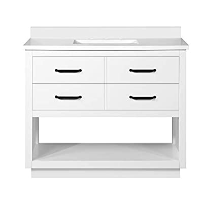 """Ove Decors Carran 42"""" Bathroom Vanity and Sink with Cultured Marble Countertop, Pre-Assembled   Backsplash Included   02 Drawers and Open Shelf, 42 inches, White"""
