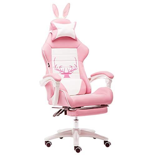 Stühle Büromöbel Rosa Mädchen Adult Game Computer Unternehmen Mitarbeiter Ergonomischer Bürostuhl, Ledersessel mit kleinen Ohren Schreibtischstühle