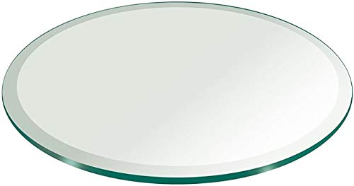 Milan 24' Round Tempered Glass Top, 3/8' Thick with 1' Bevel Edge