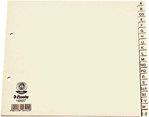 Esselte Register für A4 Formate, 20 Trennblätter, Taben mit alphabetischem Aufdruck A-Z, Überbreite und halbe Höhe, Chamois, 100{73b8dceeaff20f21f182e93d2f17ad3071b49ff23febd13cffee87ff2feee246} recyceltes Papier, Blauer Engel Siegel, 18497