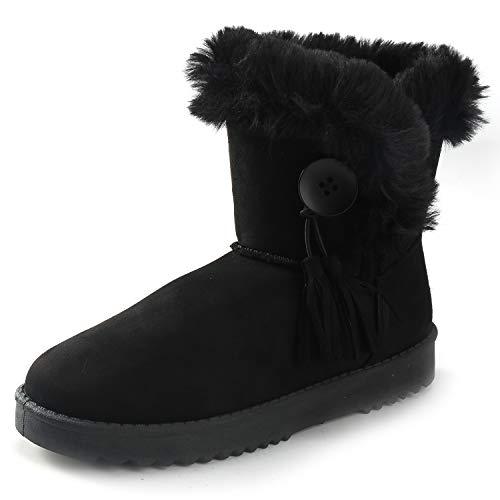 Kentti Mujer Gamuza Botón Correas Fur Impermeable Invierno Nieve Botas Negro 36 EU