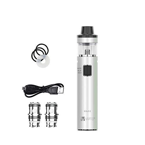 Vaptio SOLO2 Starter Kit 50W 3000mAh Batería incorporada 2ml Atomizador Bobinas dobles Cigarrillo electrónico Vaporizador No E Líquido No Nicotina (blanco)