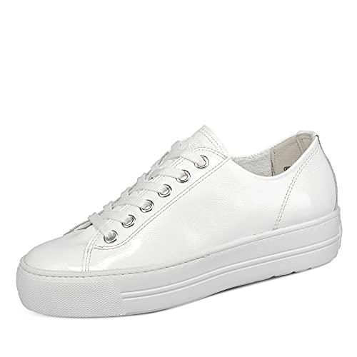Paul Green 4790 Damen Sneaker Lack Leder federleicht Gummisohle Uni Plateausohl, Groesse 39, weiß