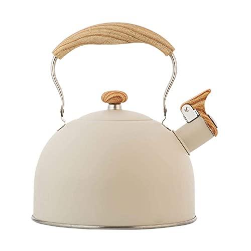 N\C XIKUO Hervidor con Silbato para Estufa de Gas Bouilloire, hervidor de té con Silbato de Acero Inoxidable de 2,5 l, Botella de Agua, Tetera para Utensilios de Cocina