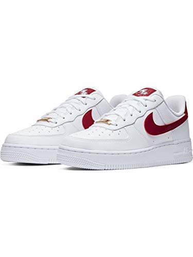 Nike Air Force 1 '07, Zapatilla de Baloncesto Mujer, Blanco/Noble Rojo/Blanco/Blanco, 40 EU