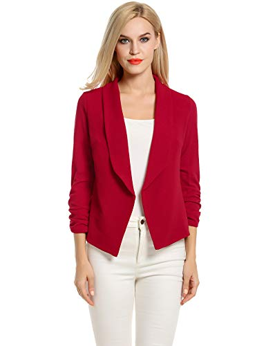 POGT Red Blazer for Women,Casual Work Ruched 3/4 Sleeve Open Front Blazer Jacket Plus Size (L, Red)