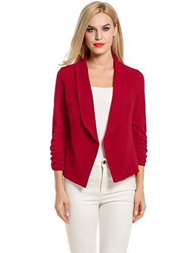 Women's Boyfriend Blazer Tailored Suit Coat Jacket (S, Red)