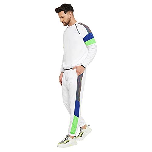 FUGAZEE Men's Stylish & Fashionable White & Green Solid Oversized-Fit Tracksuit