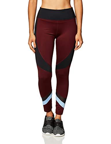 Marque Amazon - AURIQUE Legging de Sport Bicolore Taille Haute Femme, Rouge (Port Royale), 42, Label:L