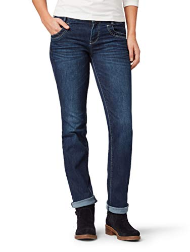 TOM TAILOR Damen Jeanshosen Alexa Straight Jeans Dark Stone wash Denim,32/34