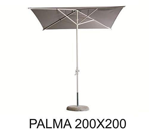 Palma FIM Parasol cm. 200x200 Pôle en aluminium de couleur blanche et tissu Olefin de couleur crème
