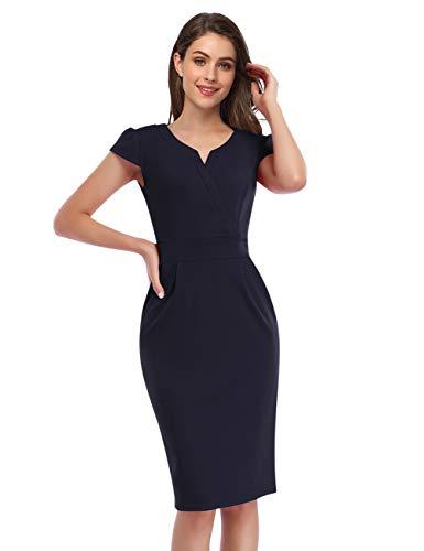 KOJOOIN Damen Elegant Etuikleider Knielang Kurzarm Business Kleider Blau Dunkelblau M
