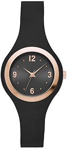 xhilaration Women s Rubber Strap Watch Black Rose Gold product image