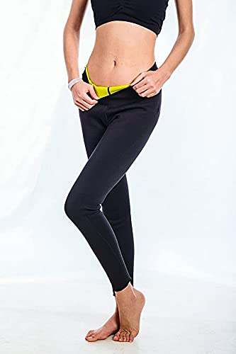 Mujeres Sweat Sanua Waist Trianer Pantalones de Yoga de Cintura Alta Pantalones de Yoga Ejercicios Abdominales Correr Leggings de Yoga elásticos (Color : Black, Size : XXL)
