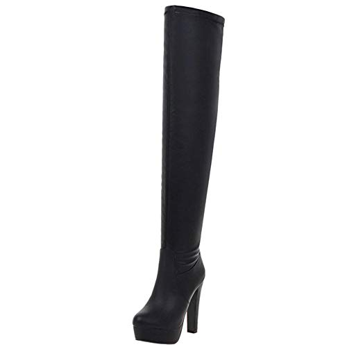 COOLCEPT Damen Stiefel Elegant Party Thigh High Stiefel Plateau High Heels Hochzeit Lange Stiefel Absatz Black Gr 48 Asian