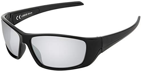 La Optica B.L.M. UV400 CAT 3 Unisex Damen Herren Sonnenbrille Sportbrille Fahrradbrille Mountainbike - Schwarz (Gläser: Silber Verspiegelt)