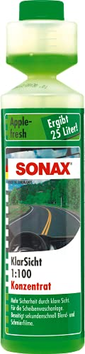 SONAX KlarSicht 1:100 Konzentrat Apple-Fresh (250 ml) hochkonzentrierter Reinigungszusatz mit Apple-Fresh-Duft für die Scheibenwaschanlage im Sommerbetrieb | Art-Nr. 03721410