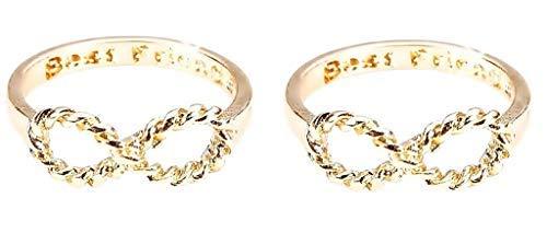Anelli Due Simbolo Infinito Con Scritta Best Friends Migliori Amiche Colore Oro Bellissima Idea Regalo Ragazza Donna Size (It10)
