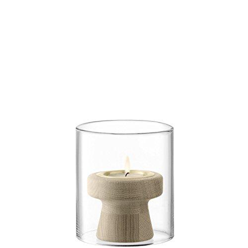 LSA International Mistral eiken theelichthouder en glazen schaduw H12 cm, transparant/eiken, H: 12 cm