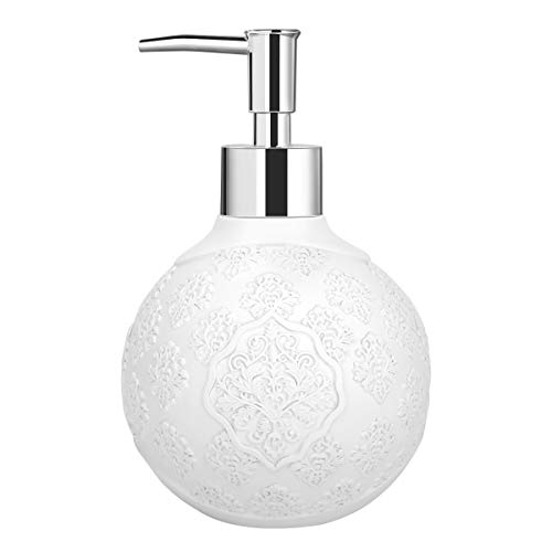 Luxspire Resin Hand Soap Dispenser, Liquid Soaps Container with Flower Pattern, Refillable Shampoo Lotion-Soap Pump Bottle, Decorative Jar for Bathroom Vanity Countertop, Kitchen Sink - White
