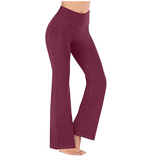 Samore Damen Schlaghose Yogahose, High Waist Jazzpants Sporthose mit Versteckten Taschen