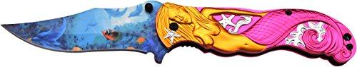 MC MASTERS COLLECTION Taschenmesser MC-A013 Serie, Messer DESIGN PINK, MEERJUNGFRAU SKULPTUR Griff, scharfes Jagdmesser, Outdoormesser 9,5 cm ROSTFREI Klinge, Klappmesser für  Angeln/ Jagd