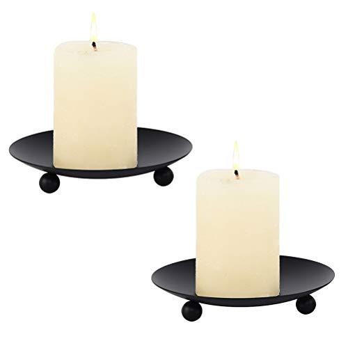 Tixiyu 2PCS Iron Plate Candle Holder Decorative Iron Pillar Candle Plate Candle Stand for Wax Candles Black