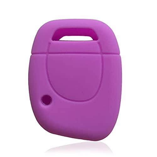 Funda de Silicona para Llave de Coche para Renault Twingo Master Kangoo Clio, Soporte para Llavero, 1 botón, Funda Inteligente para Llave de Gel de sílice, Morado Claro