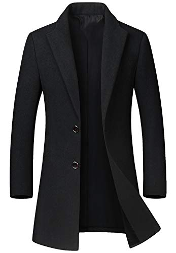 chouyatou Men's Mid-Length Single Breasted Wool Blend Top Coat (Medium, Black)