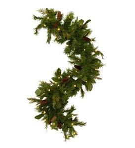Plow and Hearth Lighted Magnolia Garden Evergreen Garland with 35 Lights