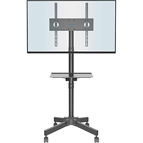 BONTEC Soporte TV Ruedas Soporte TV Móvil para Televisor de Plasma/LCD/LED de 23 a 55 Pulgadas, Soporte TV con Estante para Portátil, Altura Ajustable con Ruedas de hasta 25 kg, Máx. VESA 400 x 400 mm
