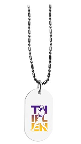 Hat Shark Football Sports Athletic Player - 3D Color Printed Military Dog Tag, Luggage Tag Pendant Metal Chain Necklace (Thielen #19)