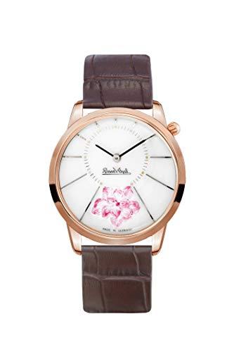 Rosenthal Reloj de porcelana para mujer con flor de cerezo   correa de cuero marrón