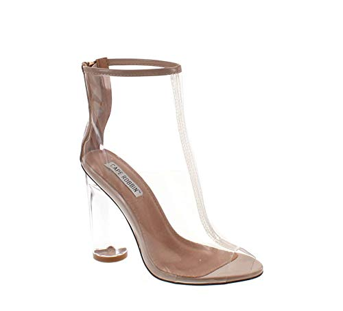 Cape Robbin Benny-1 Open Toe Block Chunky Clear Perspex Heel Ankle Boot Bootie Shoe,Nude,7