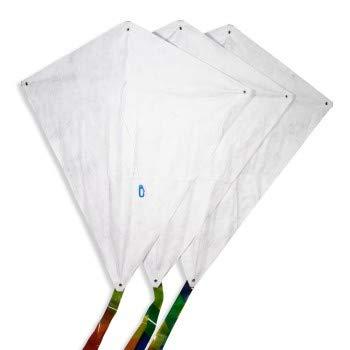 CIM Drachen-Bausätze - 3 Stück - Fixi-M - Komplettsets zum selber basteln - Jeder Drachen mit 60x66cm Drachensegel, 20m Drachenschnur auf Handgriff und 250cm langen Drachenschwänzen - Basteldrachen - Bastel-Drachen