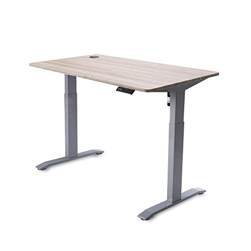 UNICOO - Electric Height Adjustable Standing Desk, Electric Standing Workstation Home Office Sit Stand Up Desk with 4 Pre-Set Memory Led Display Controller (Grey Frame/Grey Oak Top - Electric)
