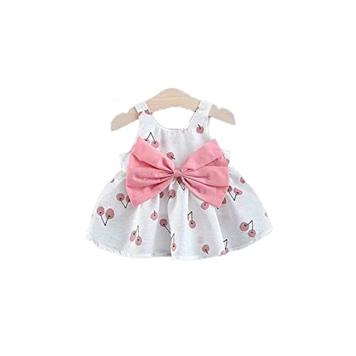 ShopGlow Baby Backless Frock Dress with Straw Hat Flower Cherry Print Princess Cotton Beach Tutu Summer Sleeveless Midi Outfit for New Born Baby Girl Kids (1-6 year) (Free 1-2 year)