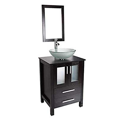 Bathroom Vanity and Sink Combo - 24 Inch Traditional Vanity Cabinet with Mirror and Tempered Glass Vessel Counter Top Sink Basin Eco MDF Board Faucet Pop-up Drain Set (Vanity+Frosted Sink)
