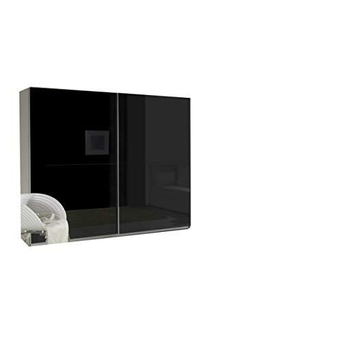 mb-moebel Kleiderschrank Schrank Garderobe Zweitürenschrank Schwebetürenschrank Schwebetüren 2-Türig Schlafzimmerschrank 244cm Maxi (Maxi 1 (Schwarz Hochglanz))