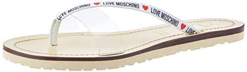 Love Moschino Ja2808, Sandales Bout Ouvert Femme, Argenté (Silver 998), 36 EU