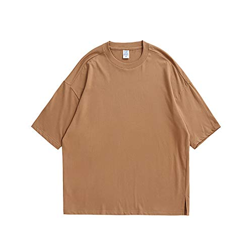 GSYNXYYA Camiseta de Manga de algodón de Manga Corta, de algodón Suelto, Camisa de Color sólido de Cuello Redondo Ocasional de Verano (S-XL),Camel,L