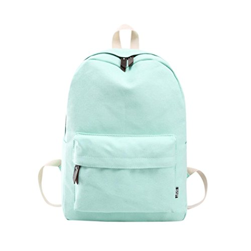 TUDUZ Boys Girls Cassual School Backpack Basic Canvas Travel Bag Zipper Daily Shoulder Bag Out of Office Rucksack Black (Mint Green)