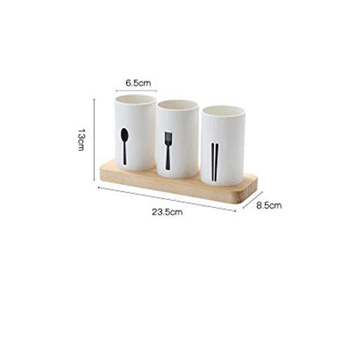 BVDS Küchen-Aufbewahrungsbox aus Eichenholz mit Messer- und Gabel-Stäbchen-Ablaufgestell weiß