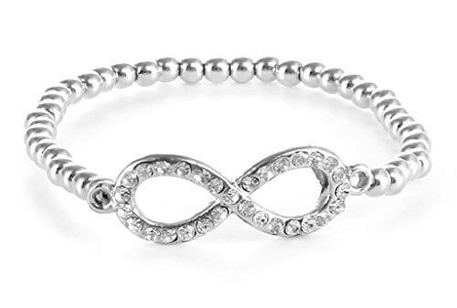 Legisdream Pulsera elástica de Plata con Perlas y símbolo Infinito con óxido de zirconio Transparente Elegante de la Joya Idea de Regalo para Cualquier ocasión
