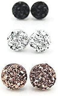 Faux Druzy Earrings Hypoallergenic Metal-Free Plastic Posts, Silver, Black, Rose Gold-Tone, 8mm