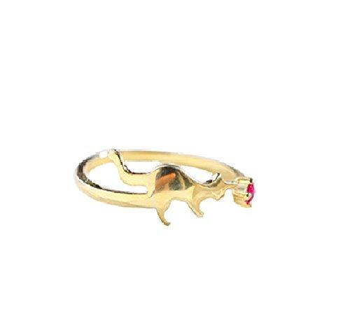 Hosaire donna alla moda Shinning lega anelli a forma di simpatico gatto con zircone anelli accessori anniversario fidanzamento matrimonio anelli moda gioielli semplici frizzante, Gold, J