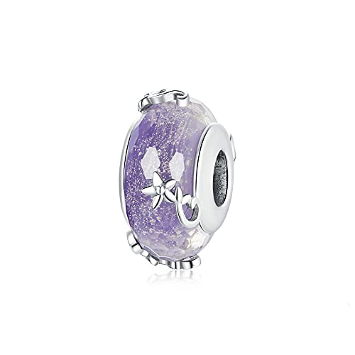 LIJIAN DIY 925 Sterling Jewelry Charm Beads Vintage Purple Glass Dream Round Flower Hacer Originales Pandora Collares Pulseras Y Tobilleras Regalos para Mujeres