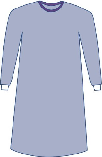 Medline DYNJP2701 Sterile Non-Reinforced Aurora Surgical Gowns with Set-In Sleeves, Large, Blue (Pack of 30)