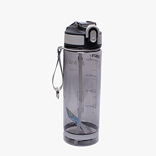 BATQER Botella Agua, Botella Deportiva De Gran Capacidad, Adecuada para Gimnasio, Automóvil Y Exteriores Polvorientos, con Pajita,Gris,800ml