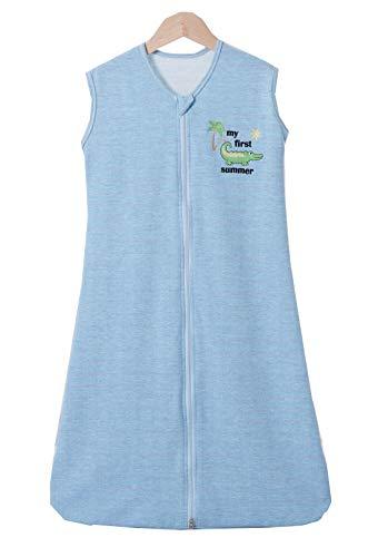 Chilsuessy Babyschlafsack Baby Schlafsack Sommer Schlafanzug Ärmellos Jungen Mädchen Kinder Sommerschlafsack 100% Baumwolle, 1 Tog/Blau, 120/Baby Hoehe 110-130cm
